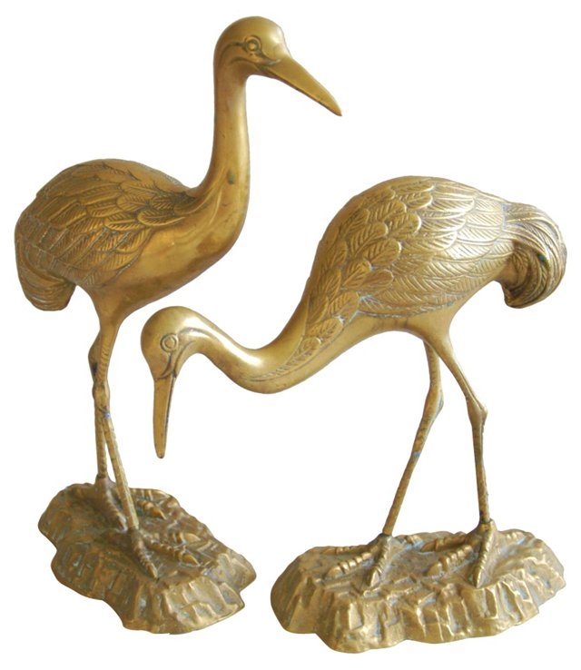 1960s Brass Egrets, Pair