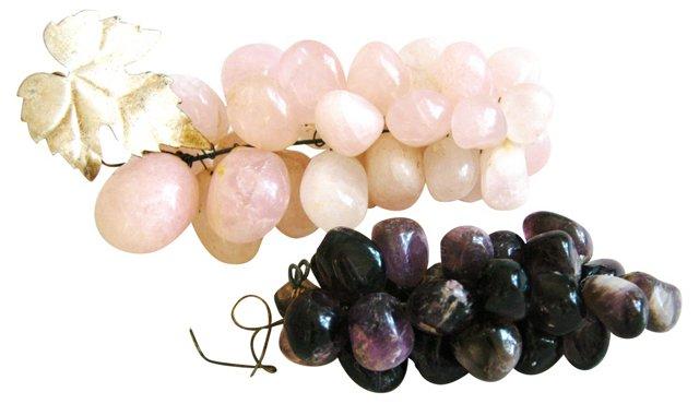 1960s Gemstone Carved Grapes, Pair