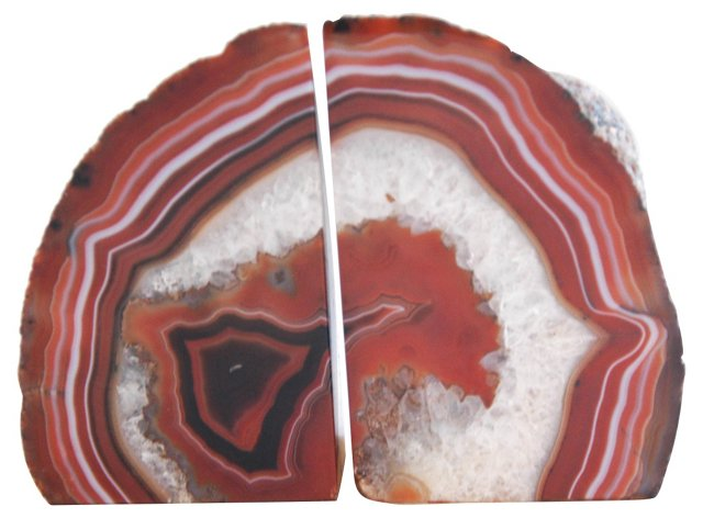 Agate Crystal Bookends