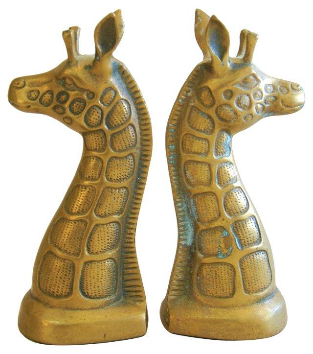 Midcentury Brass Giraffe Bookends