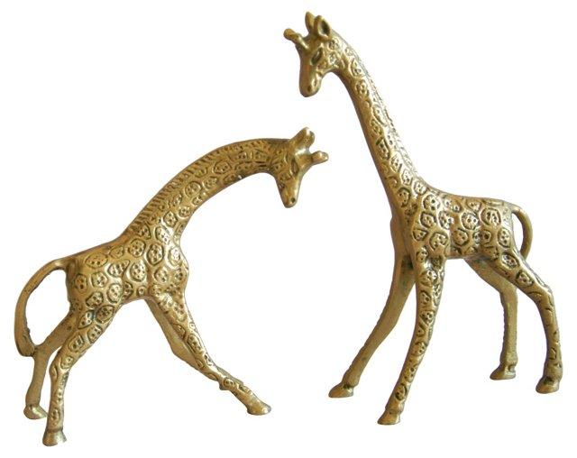Midcentury  Brass Giraffes, Pair