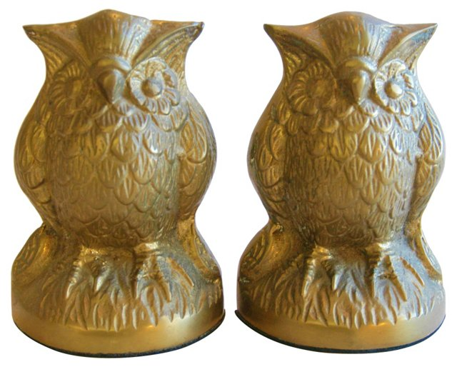 1950s Brass Owl Bookends