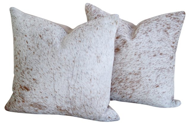 Cream Roan Cowhide   Pillows, Pair