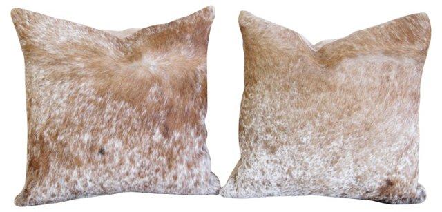 Roan Cowhide Pillows, Pair