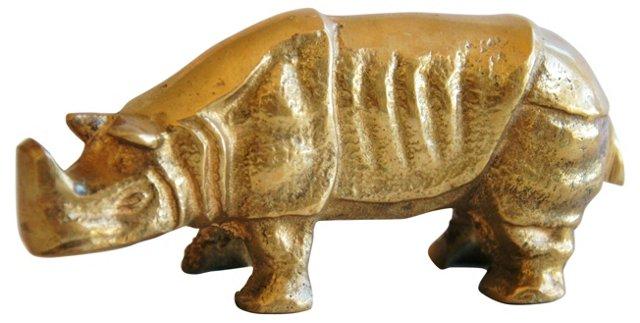Midcentury Brass African Rhinoceros