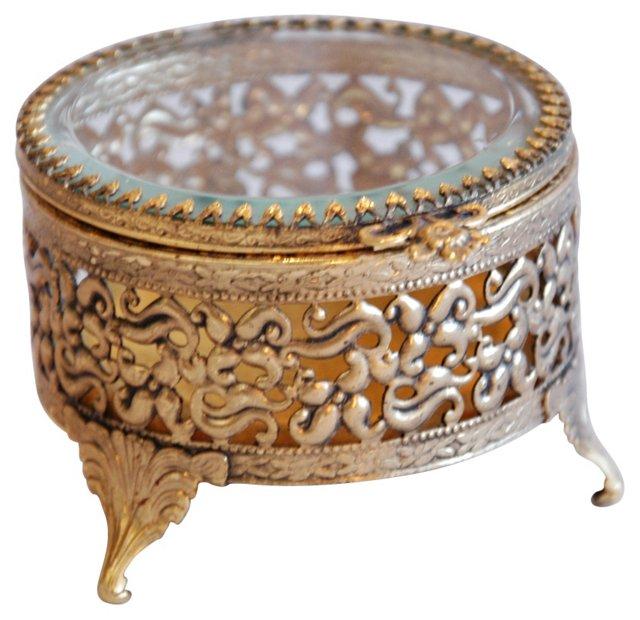 1950s Ormolu    Filigree Trinket Box