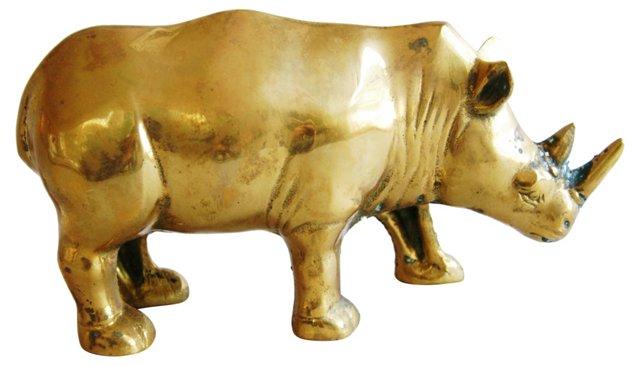1950s Large Brass African Rhinoceros