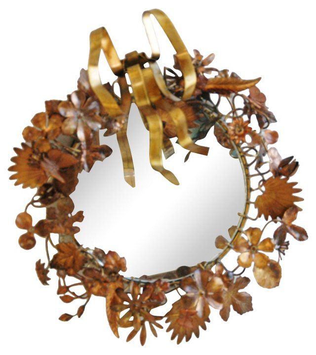 1950s French Tole Floral Mirror