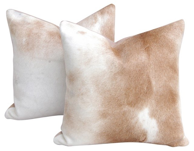 Ivory & Tan Cowhide  Pillows, Pair