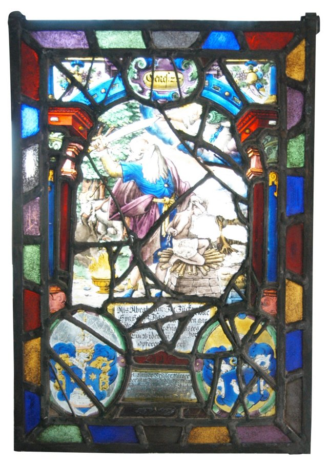 Leaded Stained Glass Panel, 1644