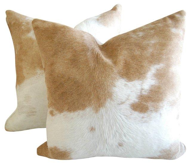 Tan & White  Cowhide Pillows, Pair