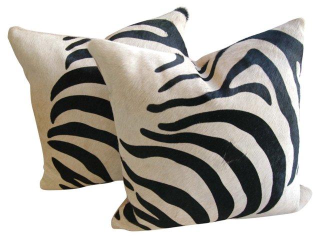 Zebra-Print    Cowhide Pillows, Pair