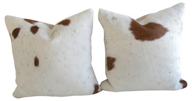 Natural Cowhide Pillows, Pair