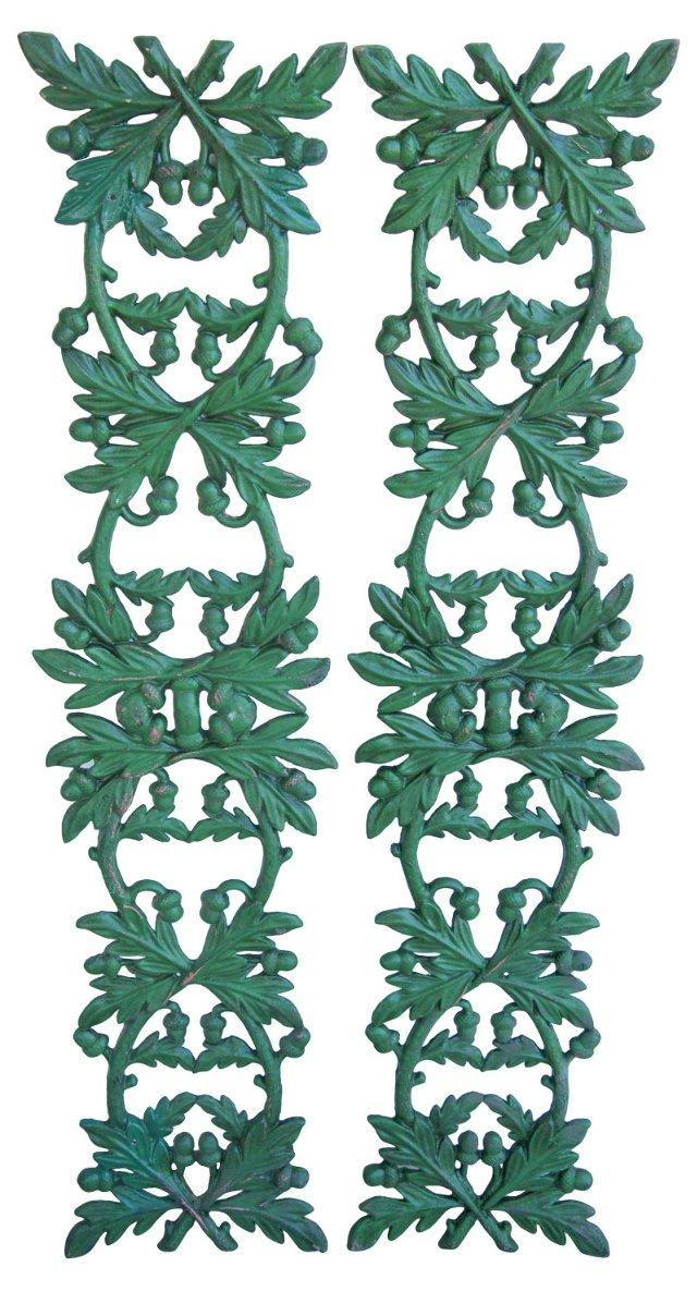 1950s Hunter Green Leaf Panels, Pair