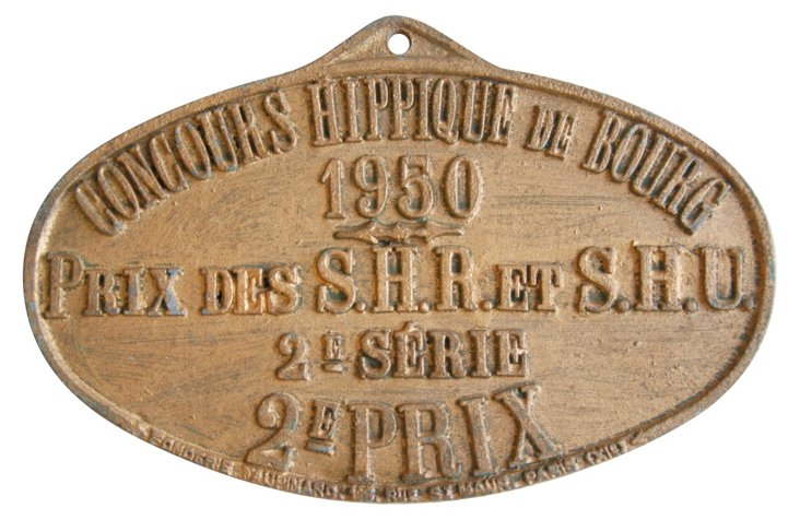 French Award Plaque, 1950