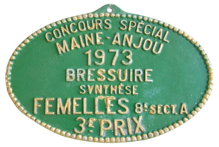 French  Agricultural Award Plaque