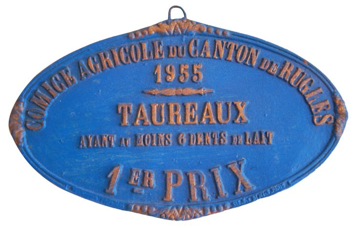 French Agricultural Award Plaque, 1955