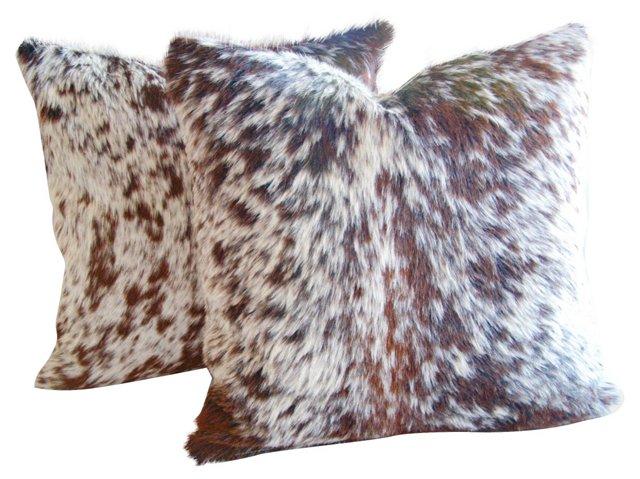 Rusty Roan    Cowhide Pillows, Pair