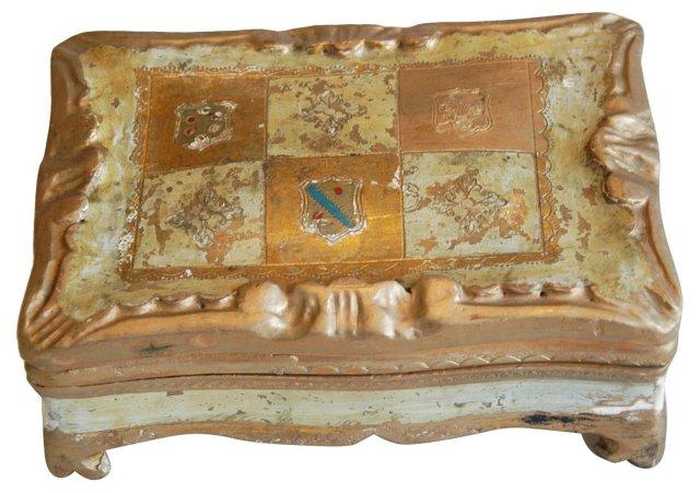 1940s Florentine Heraldic Jewelry Box