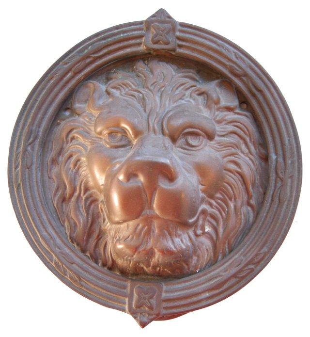 1950s Solid Brass Lion   Door Knocker