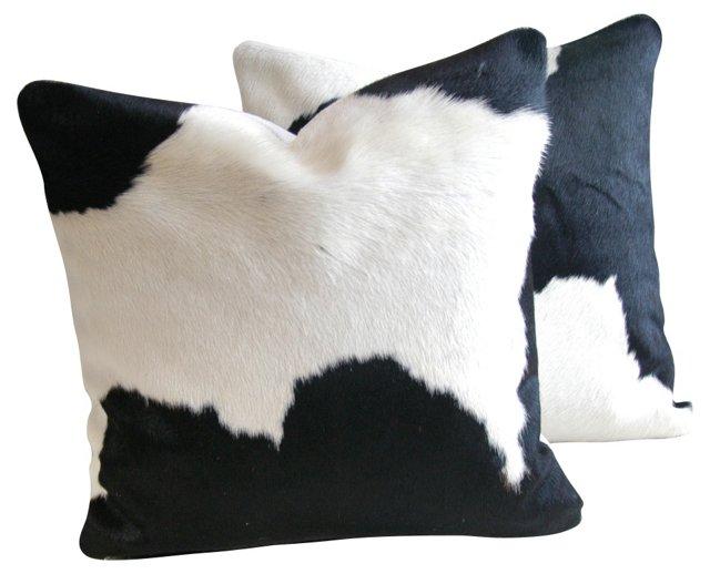Black &  White Cowhide Pillows,  Pair