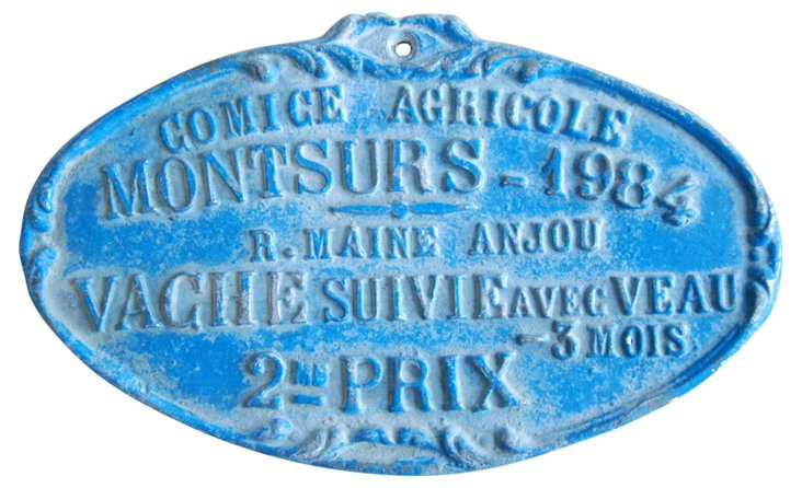 French Award Trophy Plaque, 1984