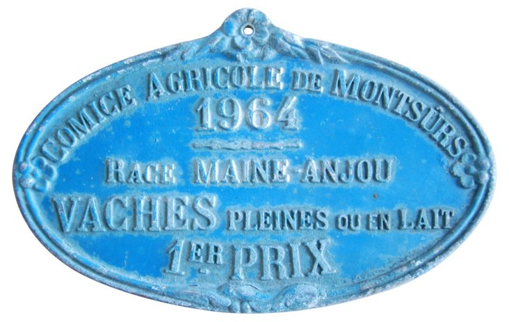 French Award Trophy Plaque, 1964