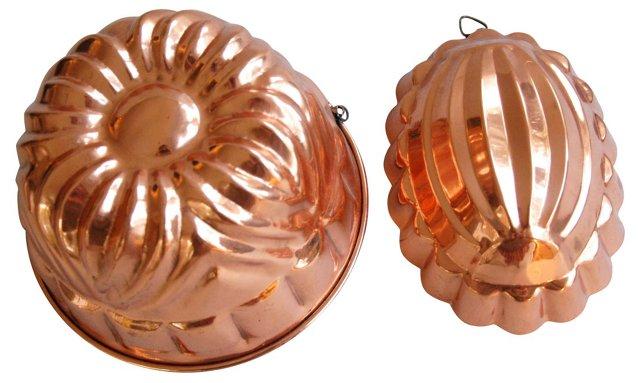 1950s Copper Molds, Pair