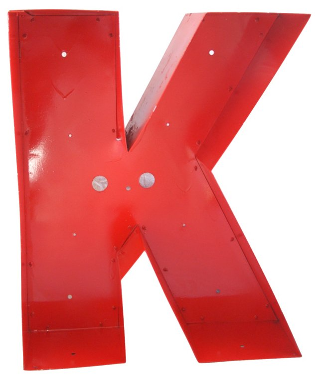 1970s Metal Marquee Letter K