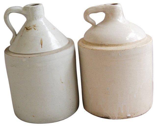 Antique Stoneware Jugs, Pair