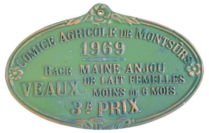 French Presentation Award Plaque, 1969