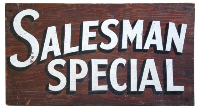 1940s Hand-Painted Salesman Sign
