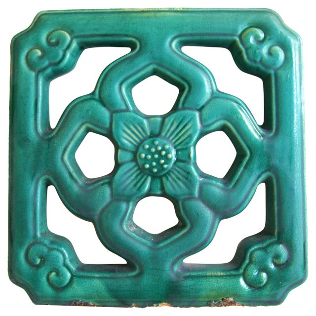 Antique  Chinese  Glazed    Temple Tile