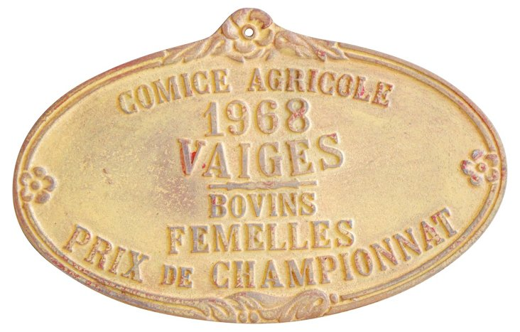 French Trophy Award Plaque, 1968