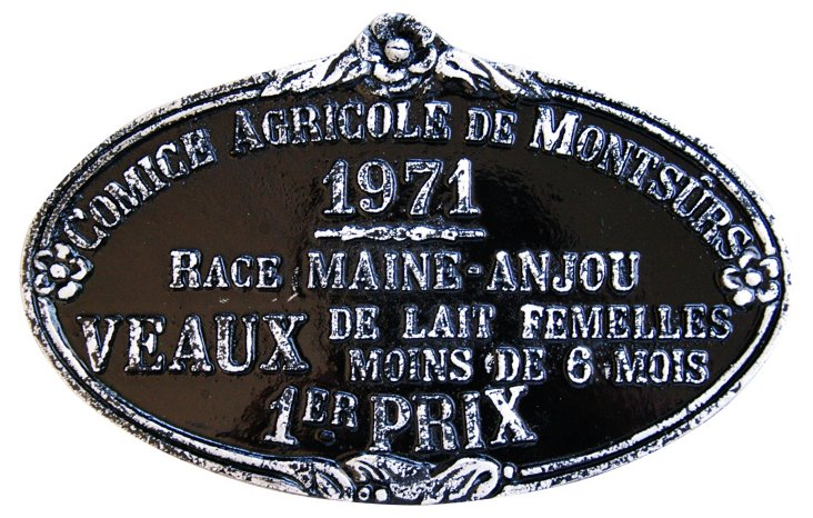 French 1st Prize Award Plaque, 1971