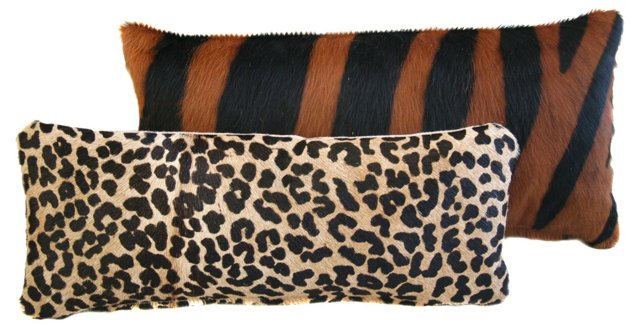 Animal Print Cowhide Pillows,  Pair