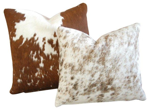 Spotty Cowhide Pillows, Pair