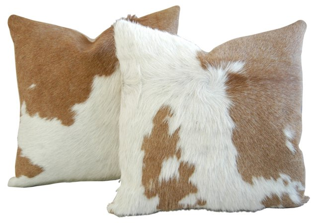 Tan & White   Cowhide Pillows, Pair