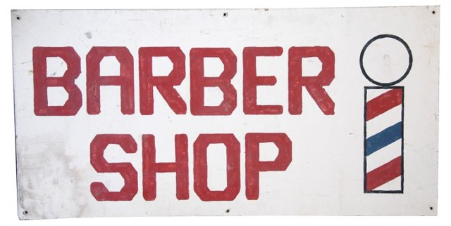 Hand-Painted Wood Barber Shop Sign
