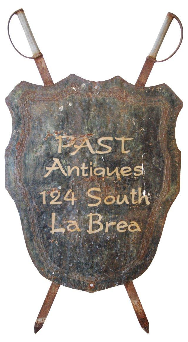 Metal Shield & Swords Antiques Sign