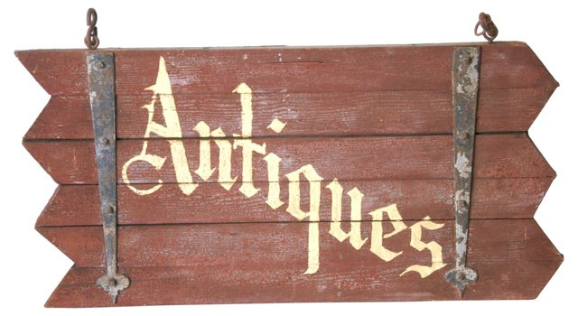 1930s Hand-Painted Antiques Sign