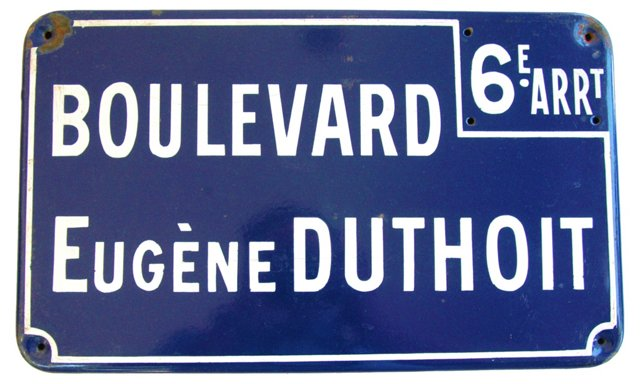 1950s French Porcelain Street Sign