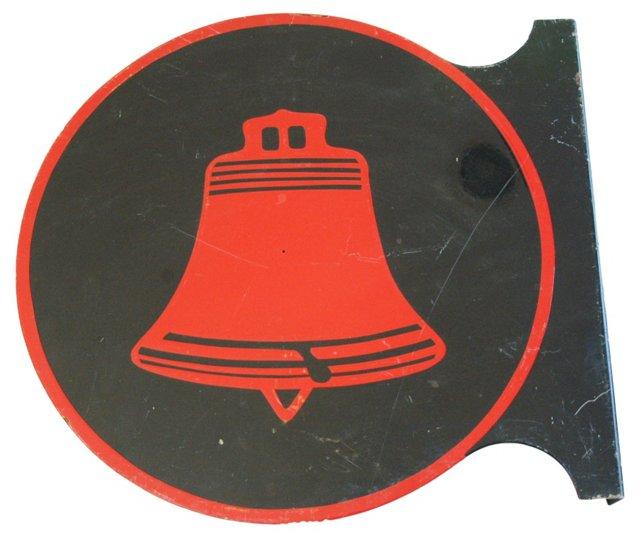 1960s Enameled Porcelain Telephone Sign