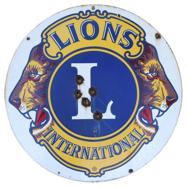 Lions Club Enameled Porcelain Sign