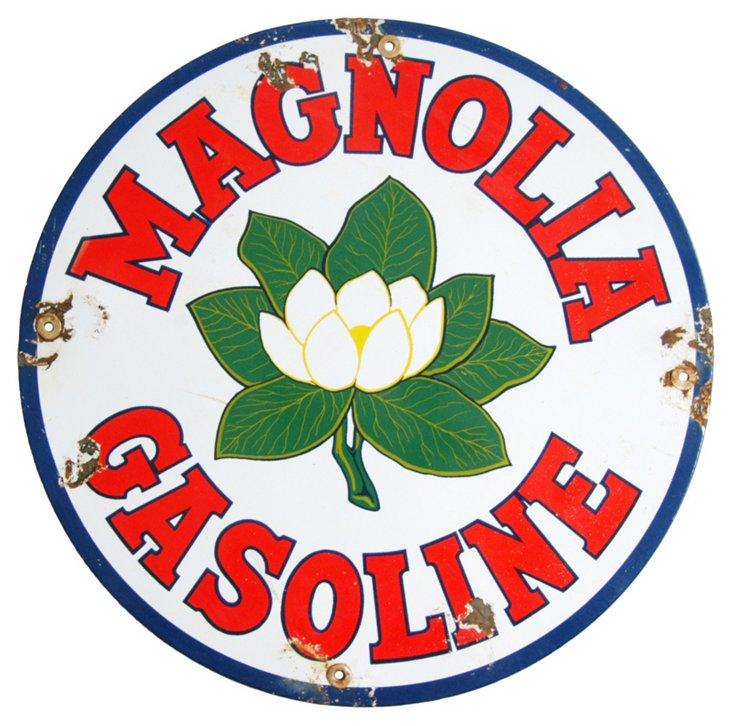 Porcelain Magnolia Gasoline Sign