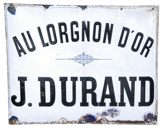 Antique French Porcelain & Enamel Sign