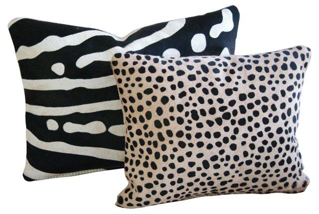 Safari  Print Cowhide Pillows, Pair