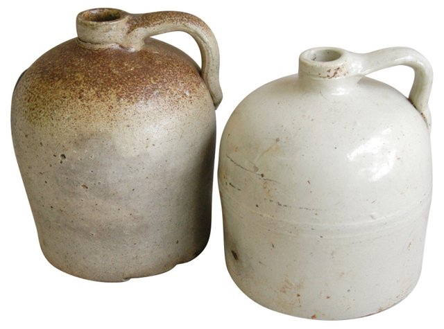 Antique Stoneware  Beehive  Jugs,  Pair
