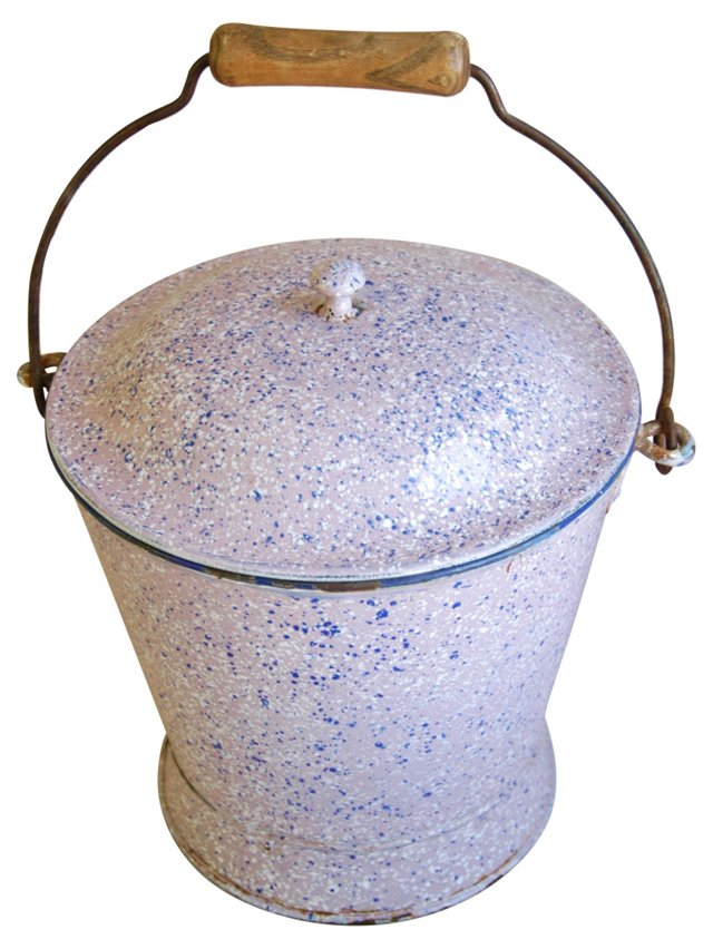 1920s French  Enameled Pail & Lid