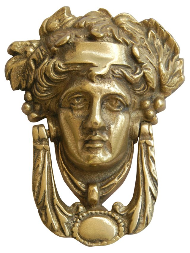 1960s French Brass Goddess Door Knocker